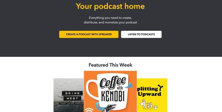 spreaker free podcast hosting homepage