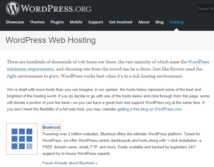 wordpres recommends bluehost