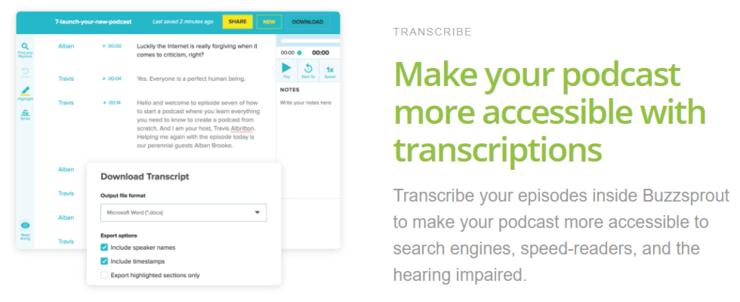 Buzzsprout transcription